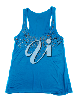 Blue Women's T-shirt with rhinestones. Isolate on white.
