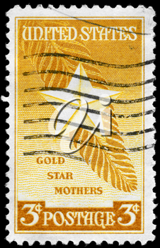 Royalty Free Photo of a 1948 Stamp of the Star and Palm Frond, Devoted to Honouring Mothers of Deceased Members of the US Armed Forces