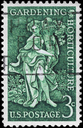 Royalty Free Photo of 1958 US Stamp Shows Bountiful Earth Allegory, Garden Clubs of America and Century of the Birth of Liberty Hyde Bailey, Horticulturist