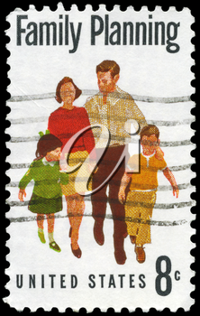 Royalty Free Photo of 1972 US Stamp Shows the Family Planning