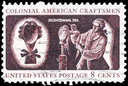 Royalty Free Photo of 1972 US Stamp Shows a Wig Maker, Colonial American Craftsmen