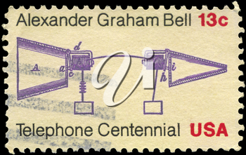 Royalty Free Photo of 1976 US Stamp Shows the Alexander Graham Bell Telephone Patent Application, Telephone Centenary