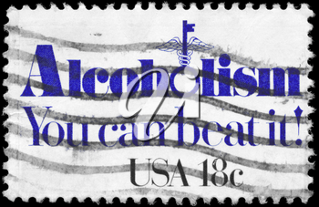 Royalty Free Photo of 1981 US Stamp Shows the Problem of Alcoholism