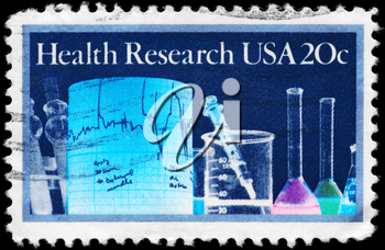 Royalty Free Photo of 1984 US Stamp Shows the Lab Equipment, Health Research Issue