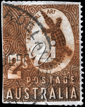 AUSTRALIA - CIRCA 1948: A Stamp printed in AUSTRALIA shows the image of a Crocodile with the description Aboriginal Art, circa 1948