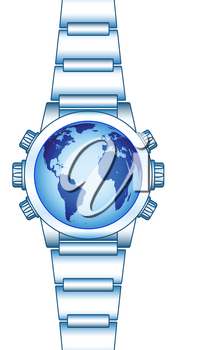Illustration of the abstract smart watch with globe. Elements of this image furnished by NASA. Source of map:  http://visibleearth.nasa.gov/view.php?id=74518