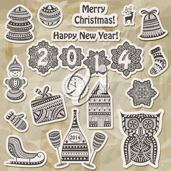 Royalty Free Clipart Image of Christmas and New Year Design Elements