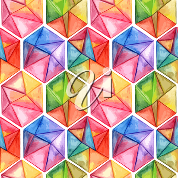Vector  Watercolor Geometric Seamless Pattern with Hexagons, fully editable eps 10 file with clipping masks