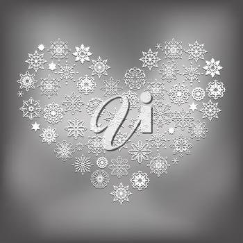 Vector Heart Made of White Snowflakes