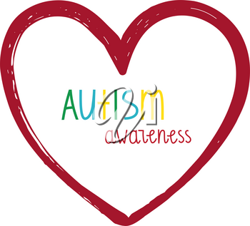 Autism Awareness Print. Heart  with hand lettering