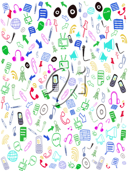 Royalty Free Clipart Image of Doodles of Entertainment Icons