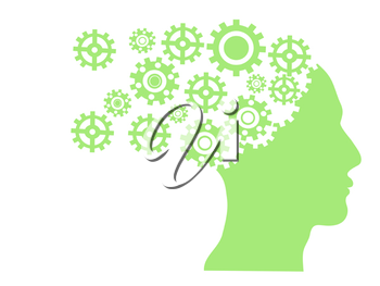 Royalty Free Clipart Image of Gears in a Person's Head