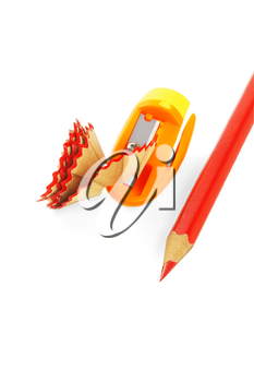 sharpened coulor pencils isolated over white background