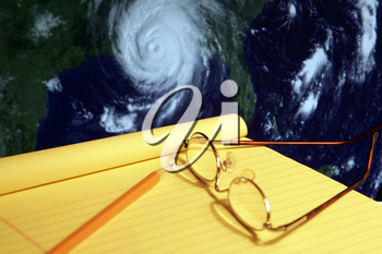 Royalty Free Photo of a Map Tracking a Hurricane