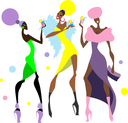 Royalty Free Clipart Image of Three Woman Partying