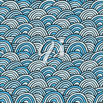 Grange Sea background. Seamless Hand-drawn vector illustration