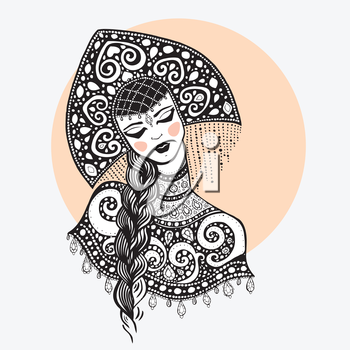 Russian traditional beauty girl. Hand drawn Illustration.