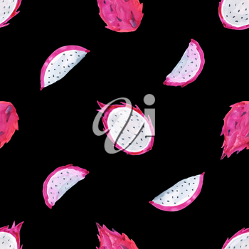 Seamless Tropical pattern of exotic fruit. Hand drawn food design