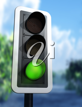 Illustration of a green traffic light on a country road