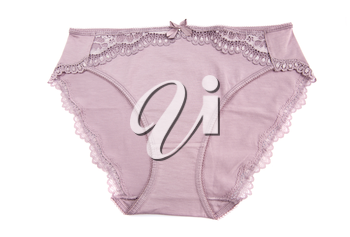 Pink panties isolated on white background.