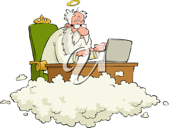 Royalty Free Clipart Image of an Angel at a Desk