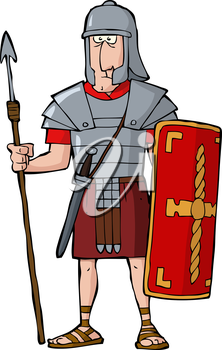 Royalty Free Clipart Image of a Roman Warrior