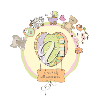 Royalty Free Clipart Image of a Baby Shower Card With Animals Around a Balloon