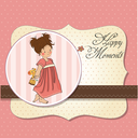 Royalty Free Clipart Image of a Little Girl Holding a Toy Giraffe