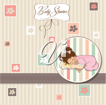Royalty Free Clipart Image of a Baby Shower Invitation With a Little Girl