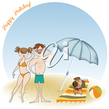 Royalty Free Clipart Image of a Couple at the Beach