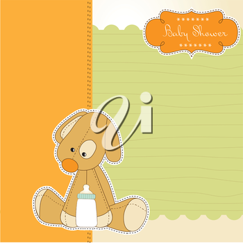 baby shower card with puppy, vector illustration