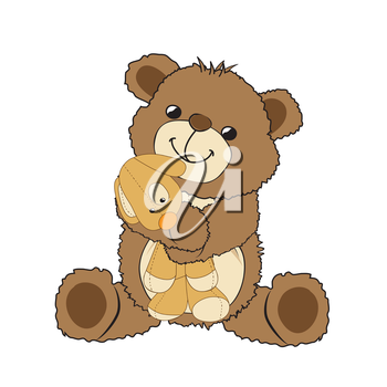 teddy bear playing with his toy, a little dog, vector illustration