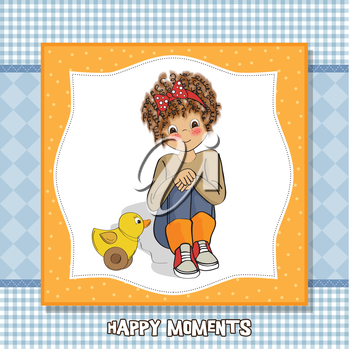curly girl play with her duck toy , vector  illustration