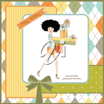 birthday card - pretty young lady with arms full of gifts