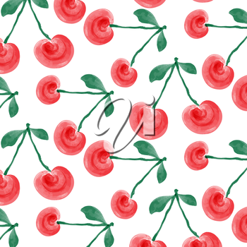 watercolor cherries background, vector format