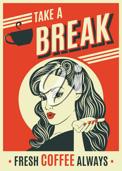 advertising coffee retro poster with pop art woman, vector format