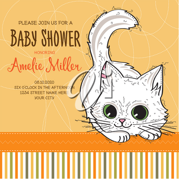 baby shower card template with funny doodle kitten, vector format