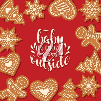 Beautiful Christmas card with gingerbread. Christmas poster. Print. Vector