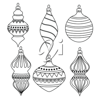Hand drawn Outline Christmas balls collection  for coloring . Items isolated on white background. For coloring book. Vector