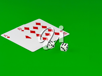 The dice and playing cards - Pip- 21 on green broadcloth.