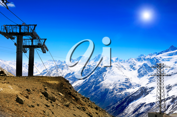 Wonderful view of the cableway in the mountains. Elbrus