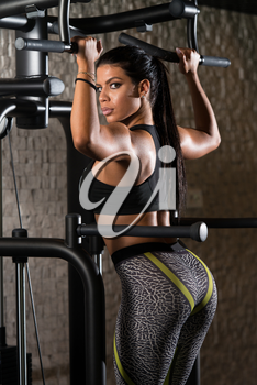 Sexy Latino Woman Working Out Back On Machine In Fitness Center