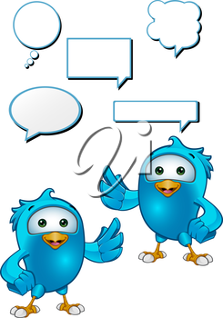 Royalty Free Clipart Image of Birds With Conversation Bubbles
