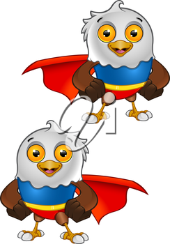 Royalty Free Clipart Image of Two Eagles With Capes