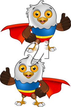 Royalty Free Clipart Image of Caped Eagles Giving Thumbs Up