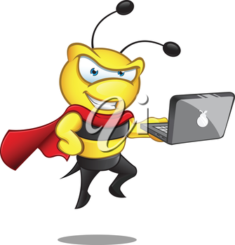 Royalty Free Clipart Image of a Caped Bumblebee With a Laptop