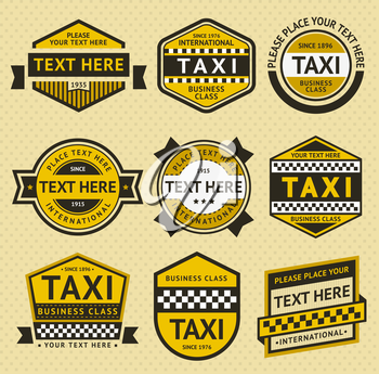 Taxi set insignia, vintage style, vector illustration