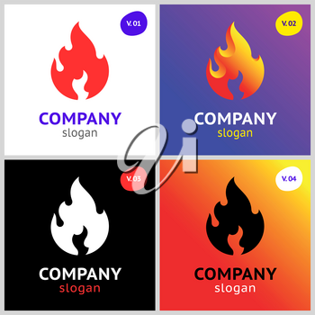 fire flames, new colored set on gradient background