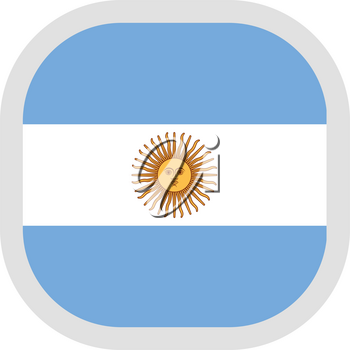 Flag of Argentina. Rounded square icon on white background, vector illustration.