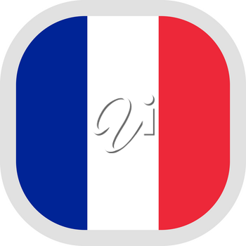 Flag of France. Rounded square icon on white background, vector illustration.